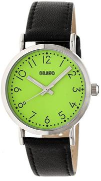 Crayo Pride CRACR3804 Silver and Black Leather Analog Watch