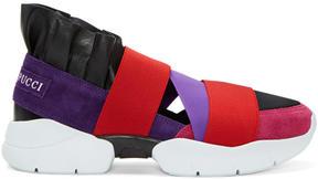 Emilio Pucci Purple and Black Colorblock Slip-On Sneakers