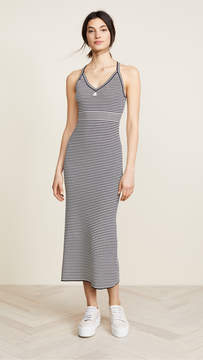 Courreges Long Striped Metallic Dress