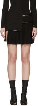 Anthony Vaccarello Black Asymmetric Plisse Miniskirt