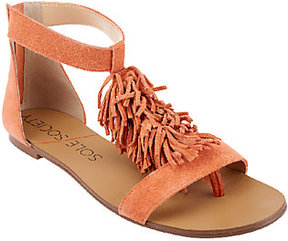 Sole Society As Is Suede Sandals with Fringe - Koa