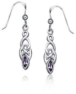 Celtic Bling Jewelry Amethyst Knotwork Sterling Silver Drop Earrings.
