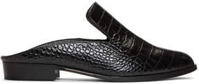 Robert Clergerie Black Croc-Embossed Alice Slip-On Loafers