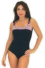 Fit 4 U C's Shellborne Square Neck Tank Swimsuit w/Buttons