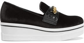 Stella McCartney Embellished Velvet Platform Slip-on Sneakers - Black