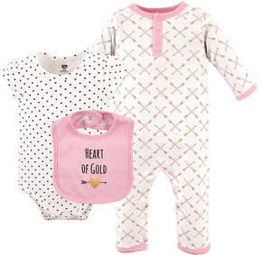 Hudson Baby Pink & White Heart Playsuit Set - Infant