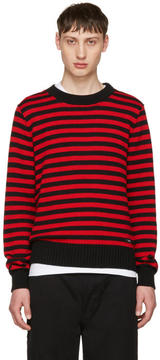 Ami Alexandre Mattiussi Black and Red Striped Sweater