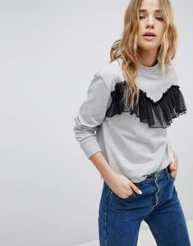 Brave Soul Amelie Sweatshirt With Lace Frill