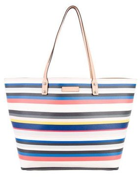 Rebecca Minkoff Leather-Trimmed Striped Tote - WHITE - STYLE