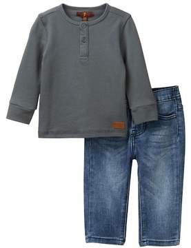 7 For All Mankind Henley & Jeans Set (Baby Boys)