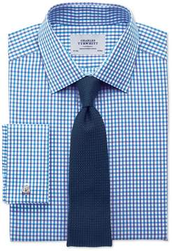 Charles Tyrwhitt Extra Slim Fit Two Color Check Blue Cotton Dress Shirt French Cuff Size 14.5/33