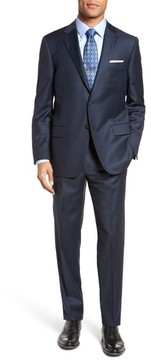 Hickey Freeman Men's Classic B Fit Solid Loro Piana Wool Suit