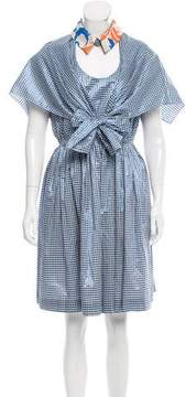 DELPOZO Metallic Gingham Dress w/ Tags