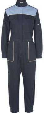 Miu Miu Color-block Cotton-blend Jumpsuit - Navy