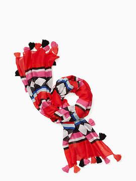 Geo border oblong scarf