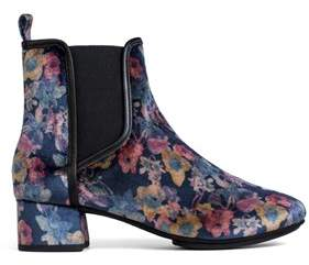 Yosi Samra Womens Penelope Black Floral Print Velvet Boot.