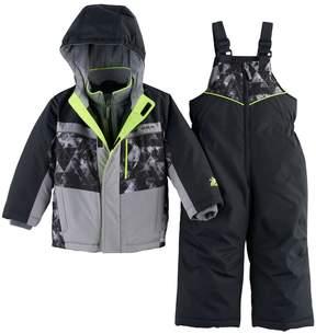 ZeroXposur Toddler Boy Heavyweight Abstract Jacket & Bib Overall Snow Pants Set