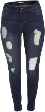 Dollhouse Blue Grass Distressed Skinny Jeans - Plus