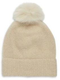 Portolano Fox Fur Pom-Pom Cashmere Hat