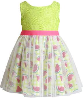 Sweet Heart Rose Glitter-Mesh Watermelon-Print Crochet Dress, Toddler Girls