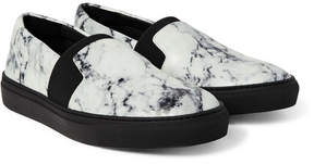 Balenciaga Marble-Print Leather Sneakers