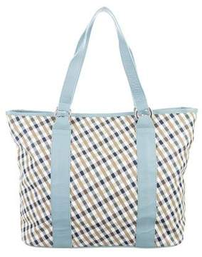 Aquascutum Leather-Trimmed Printed Tote