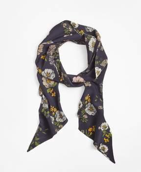 Brooks Brothers Floral-Print Silk Skinny Scarf
