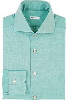 Kiton Men's Micro Diamond-Jacquard Cotton Dress Shirt