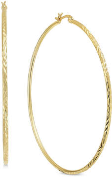 Essentials Extra Large Silver Plated Textured Hoop Earrings