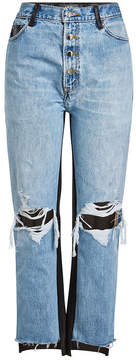 Amiri Cropped Jeans with Leather