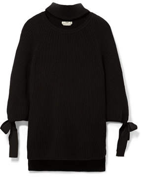 Fendi Cutout Bow-embellished Ribbed Cashmere Sweater - Black