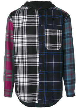 Alexander Wang WOOL TARTAN MULTI COMBO HOODED SHIRT