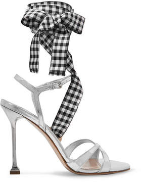 Miu Miu Canvas-trimmed Metallic Leather Sandals - Silver