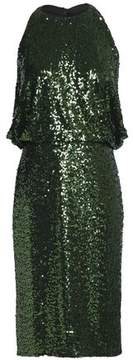 Badgley Mischka Draped Sequined Mesh Dress