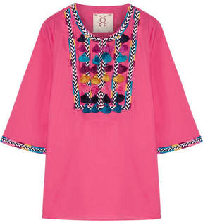 Figue Nilu Tasseled Cotton-voile Blouse - Bright pink