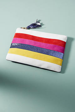 Anthropologie Striped Metallic Pouch