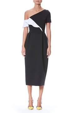 Carolina Herrera One-Shoulder Ruffle Neoprene Sheath Cocktail Dress