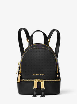 Michael Kors Rhea Mini Perforated Leather Backpack - BLACK - STYLE