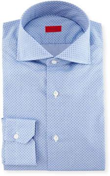 Isaia Micro-Print Dress Shirt, French Blue