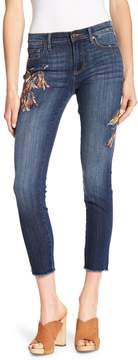 Driftwood Marilyn Embroidered Cropped Frayed Jeans