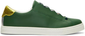 Fendi Green Logo Slip-On Sneakers