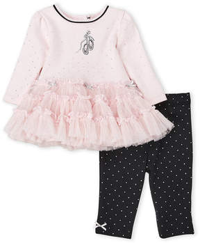 Little Me Newborn/Infant Girls) Two-Piece Ballet Dot Tutu Top & Leggings Set