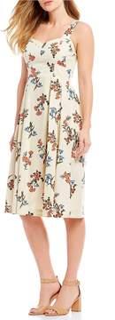 Donna Morgan Floral Print Cotton Poplin Fit and Flare Midi Dress