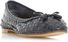 Dune London HOVE - NAVY Woven Leather Ballerina Shoe