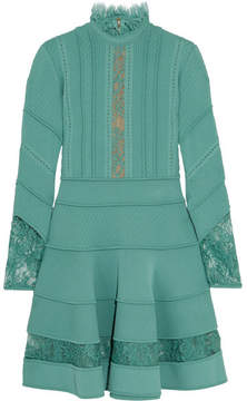 Elie Saab Lace-trimmed Knitted Dress - Turquoise