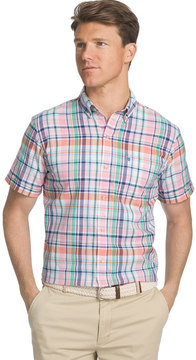 Izod Men's Dockside Classic-Fit Plaid Chambray Woven Button-Down Shirt