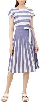 Hobbs London Aria Pleated Striped Dress