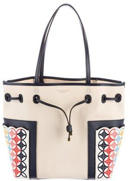 Tory Burch Block-T Embroidered Canvas Tote