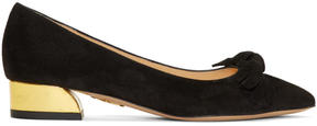 Charlotte Olympia Black Suede Lady Like Ballerina Flats