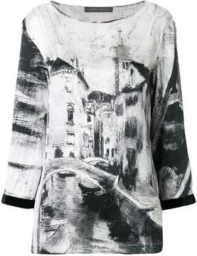 Alberta Ferretti long sleeved printed blouse